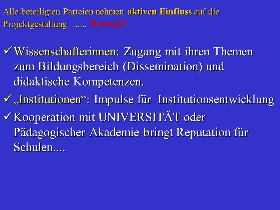 """Institutionen : Impulse für Institutionsentwicklung"