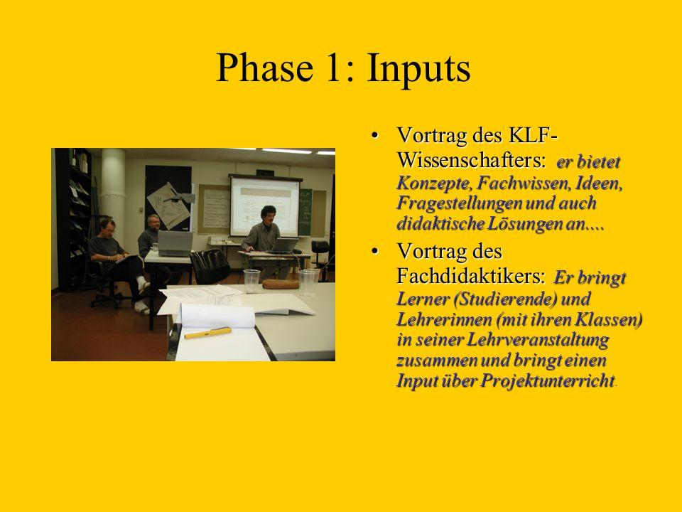 Phase 1: Inputs Vortrag des KLF-Wissenschafters: er bietet Konzepte, Fachwissen, Ideen, Fragestellungen und auch didaktische Lösungen an....