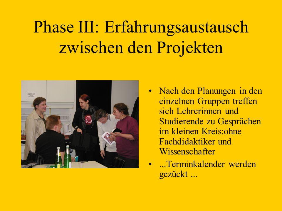 Phase III: Erfahrungsaustausch zwischen den Projekten