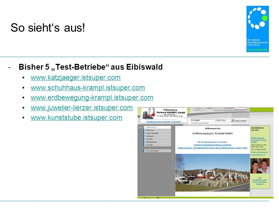 """So sieht's aus! Bisher 5 """"Test-Betriebe aus Eibiswald"""