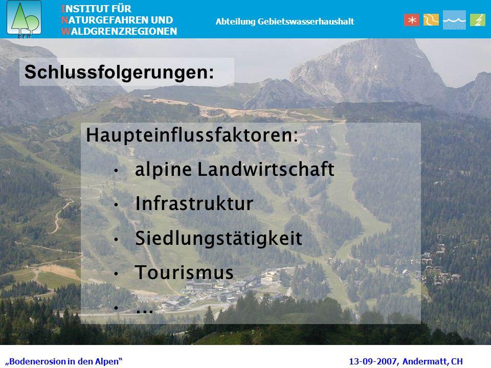 Haupteinflussfaktoren: alpine Landwirtschaft Infrastruktur