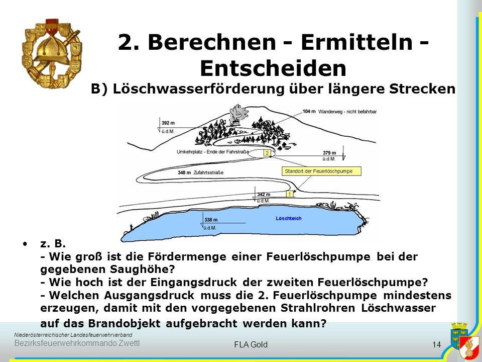 2. Berechnen - Ermitteln - Entscheiden B) Löschwasserförderung über längere Strecken