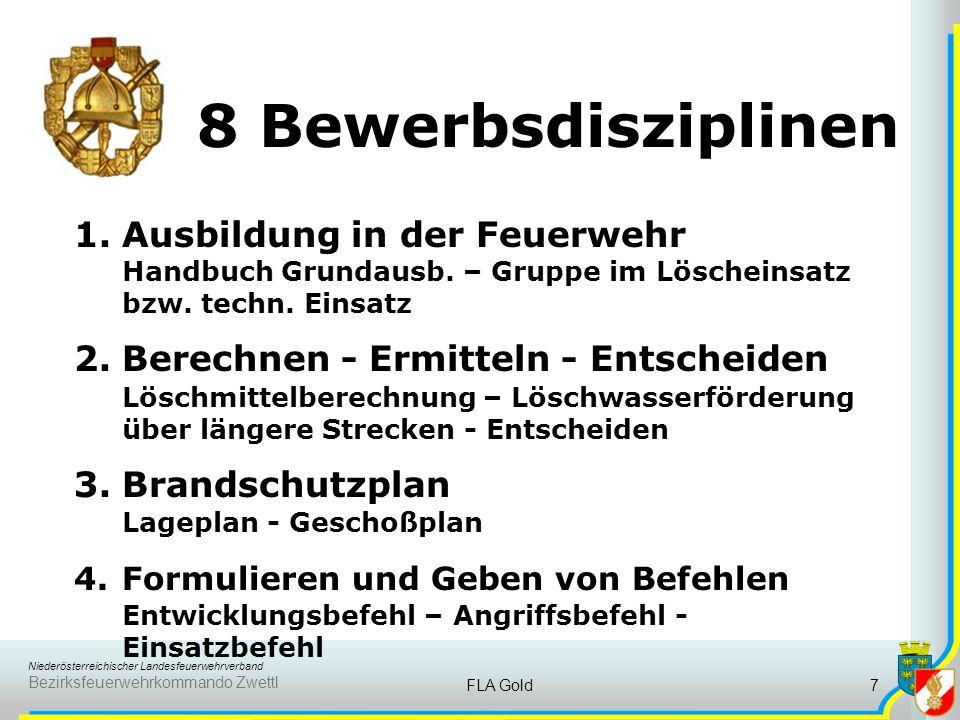 8 Bewerbsdisziplinen Ausbildung in der Feuerwehr Handbuch Grundausb. – Gruppe im Löscheinsatz bzw. techn. Einsatz.