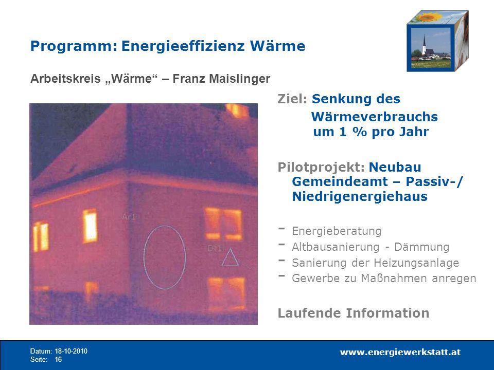 Programm: Energieeffizienz Wärme