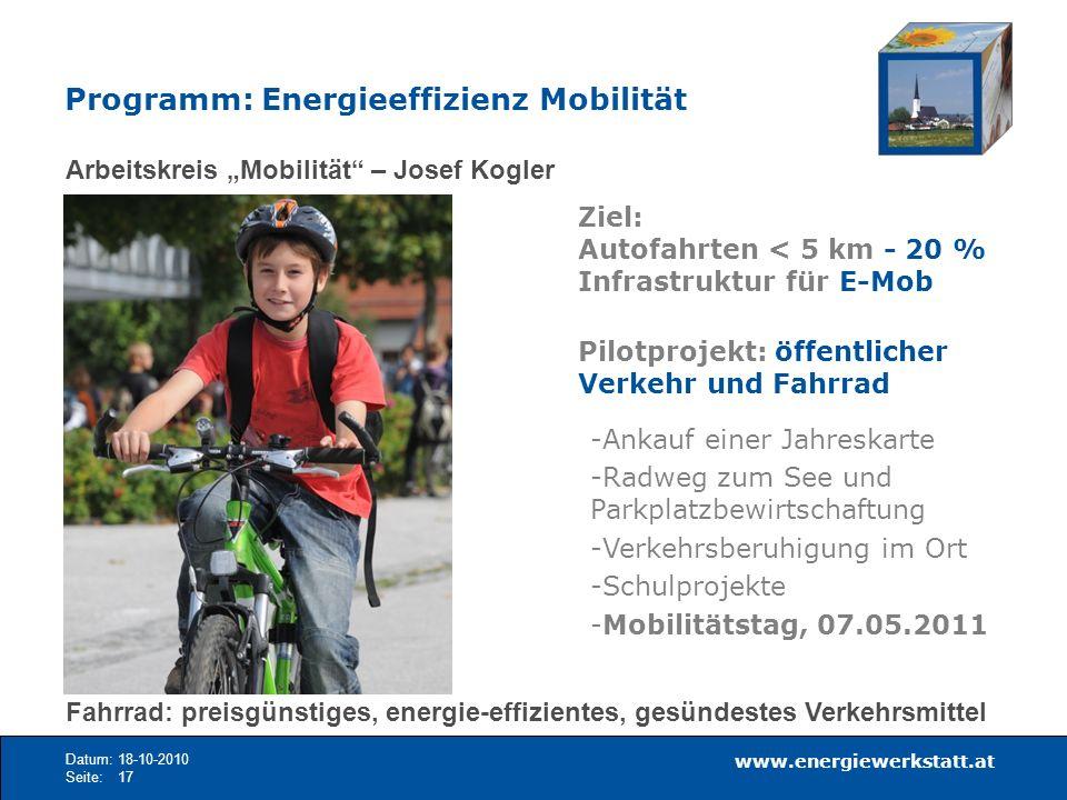 Programm: Energieeffizienz Mobilität