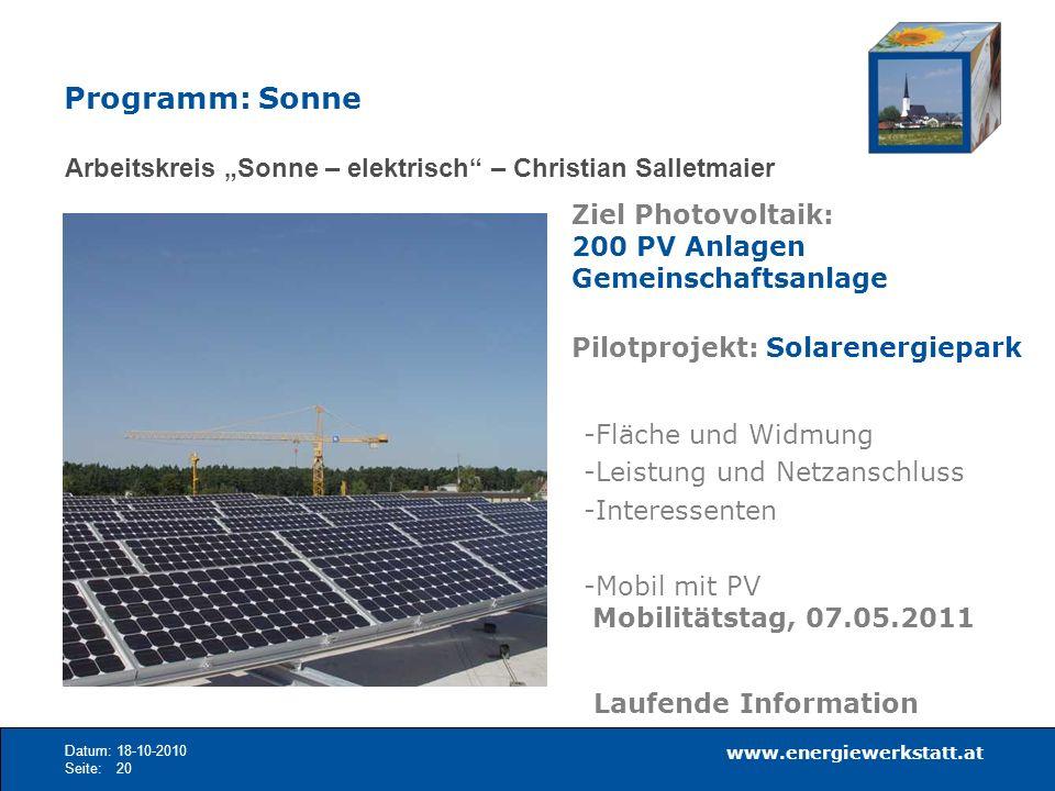 """Programm: Sonne Arbeitskreis """"Sonne – elektrisch – Christian Salletmaier. Ziel Photovoltaik: 200 PV Anlagen Gemeinschaftsanlage."""
