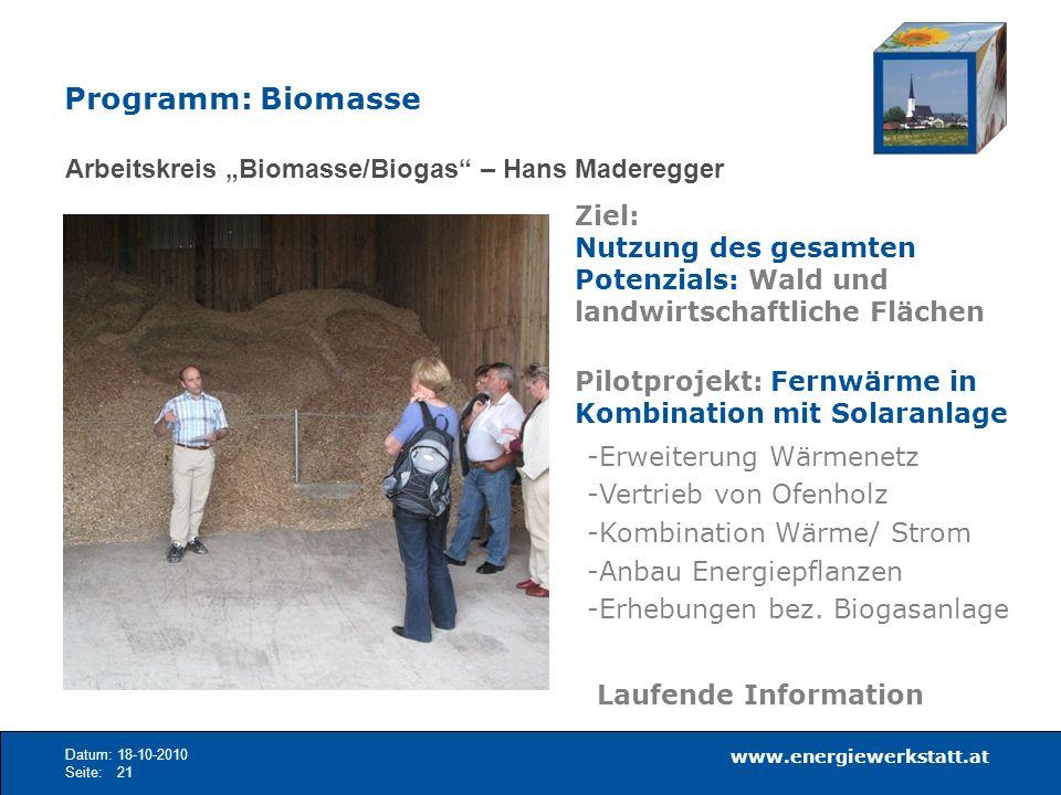 """Programm: Biomasse Arbeitskreis """"Biomasse/Biogas – Hans Maderegger"""
