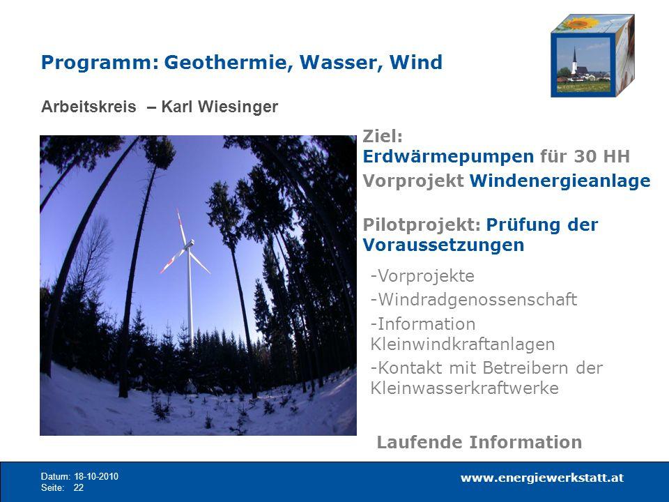 Programm: Geothermie, Wasser, Wind
