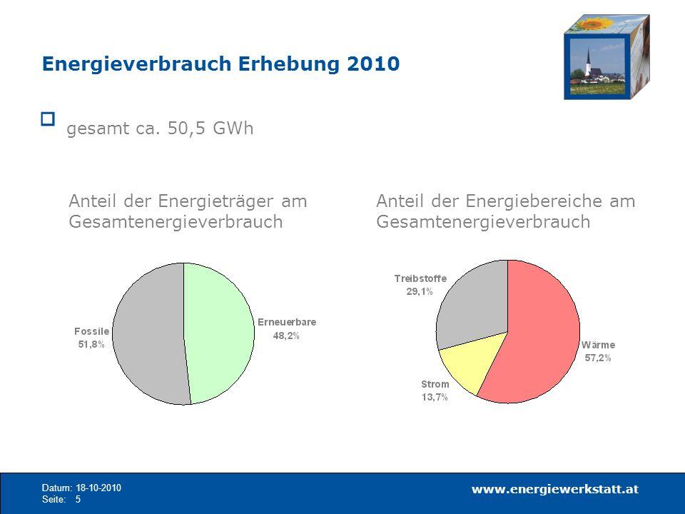 Energieverbrauch Erhebung 2010