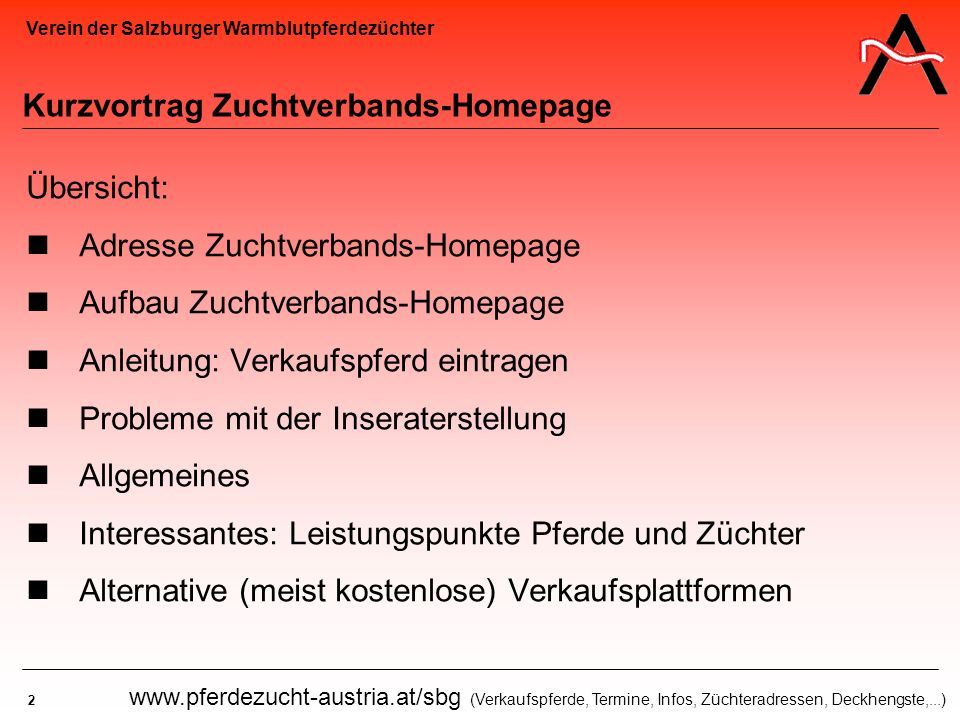 Kurzvortrag Zuchtverbands-Homepage