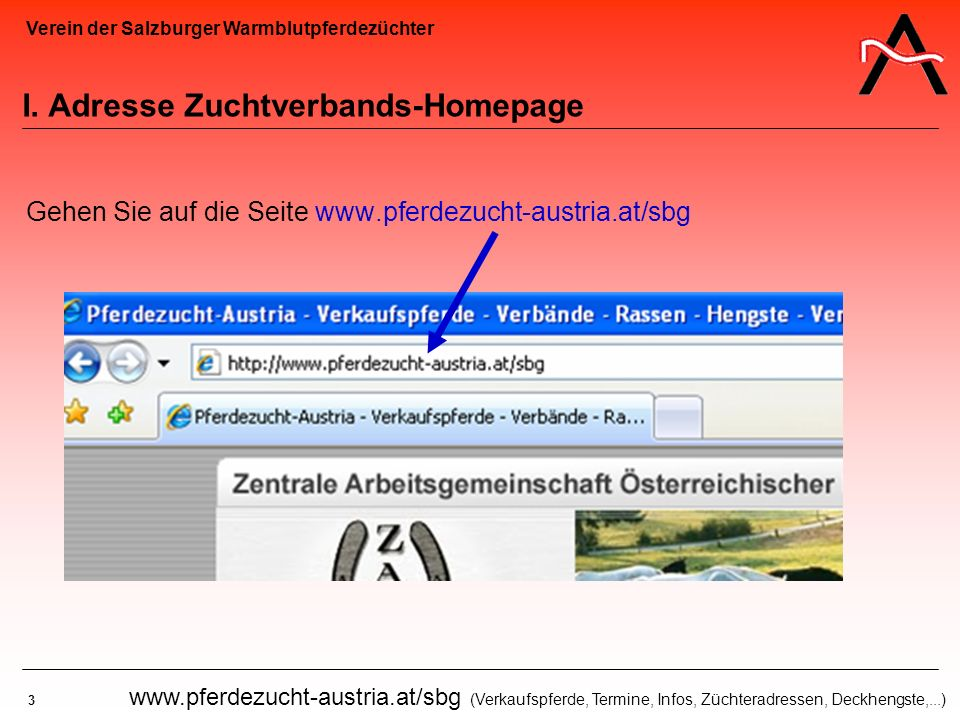 I. Adresse Zuchtverbands-Homepage