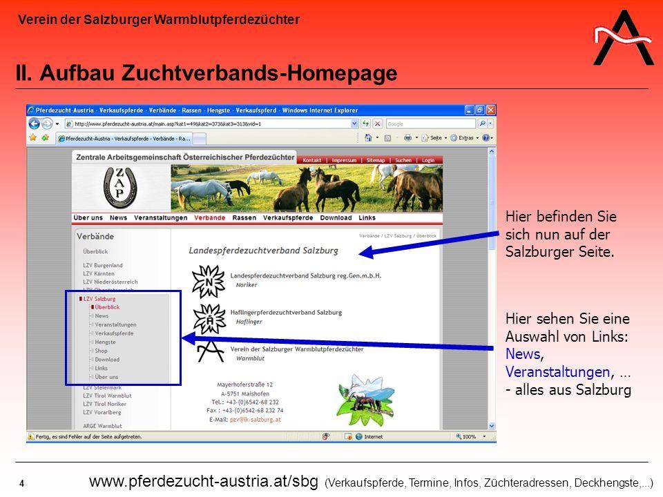 II. Aufbau Zuchtverbands-Homepage
