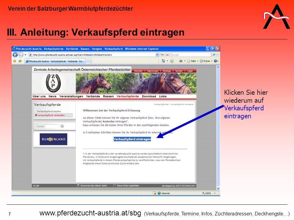 III. Anleitung: Verkaufspferd eintragen