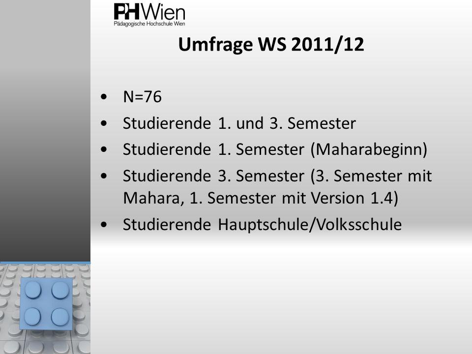 Umfrage WS 2011/12 N=76 Studierende 1. und 3. Semester