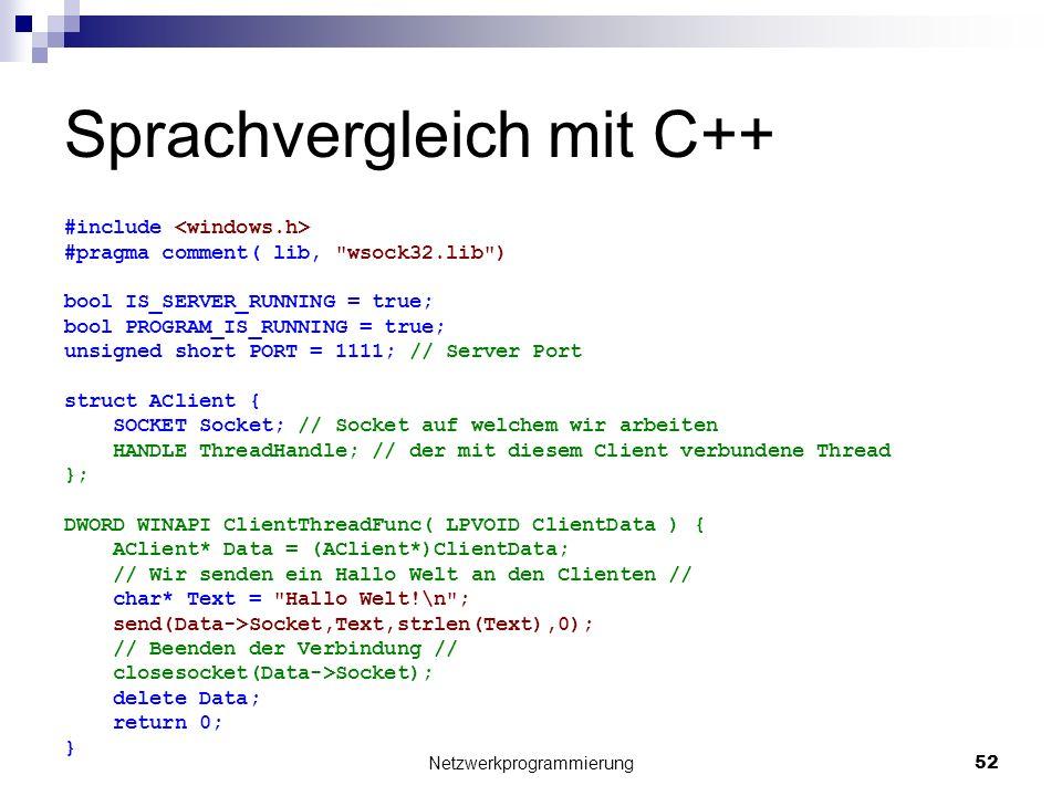 Sprachvergleich mit C++