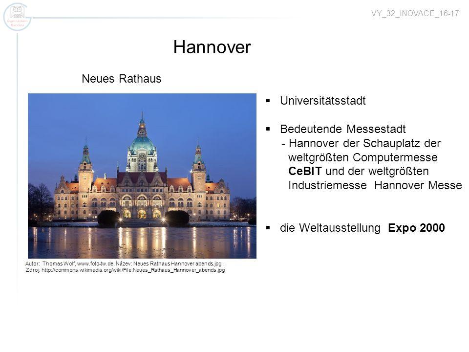 Hannover Neues Rathaus Universitätsstadt Bedeutende Messestadt