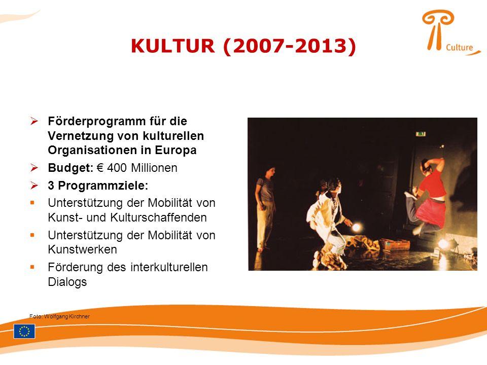 KULTUR (2007-2013) Förderprogramm für die Vernetzung von kulturellen Organisationen in Europa. Budget: € 400 Millionen.