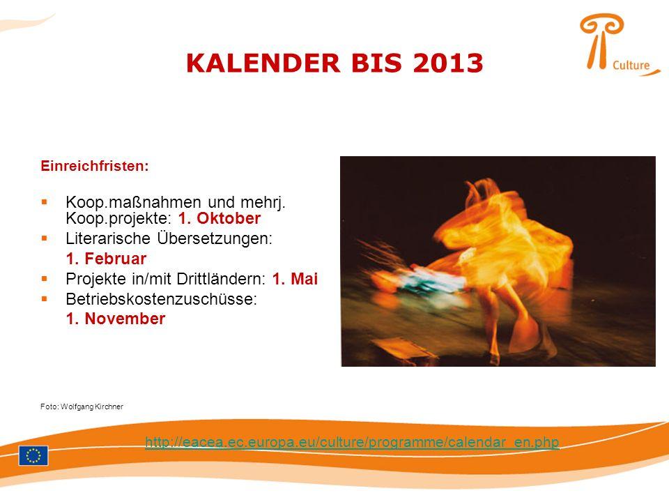 KALENDER BIS 2013 Koop.maßnahmen und mehrj. Koop.projekte: 1. Oktober