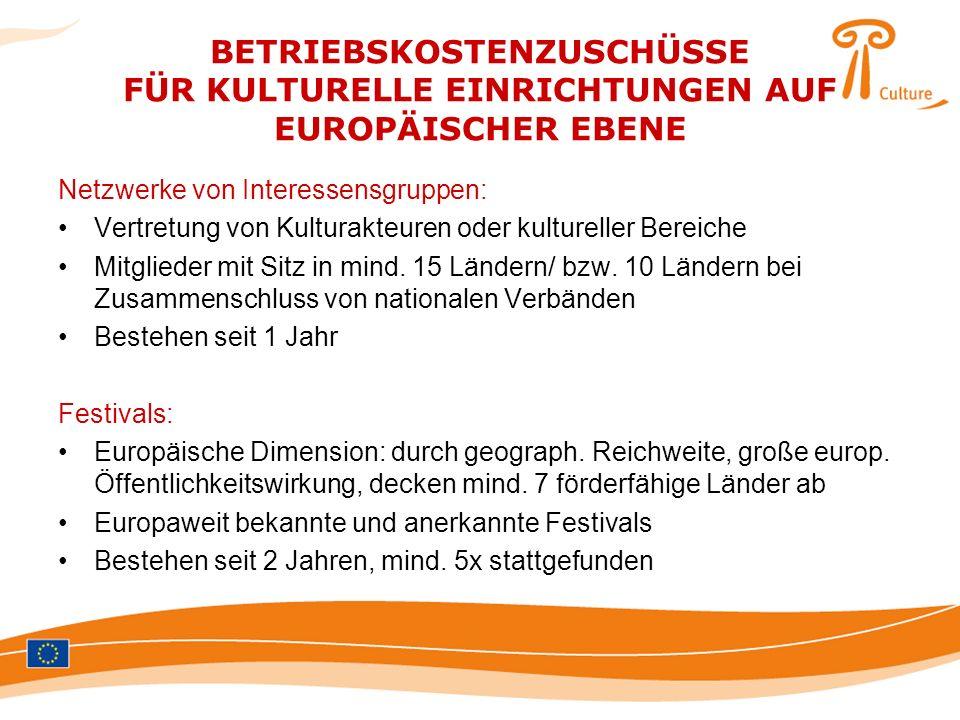 BETRIEBSKOSTENZUSCHÜSSE FÜR KULTURELLE EINRICHTUNGEN AUF EUROPÄISCHER EBENE
