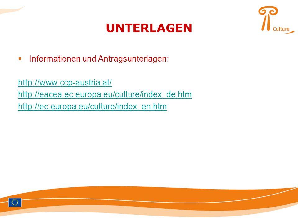 UNTERLAGEN Informationen und Antragsunterlagen: