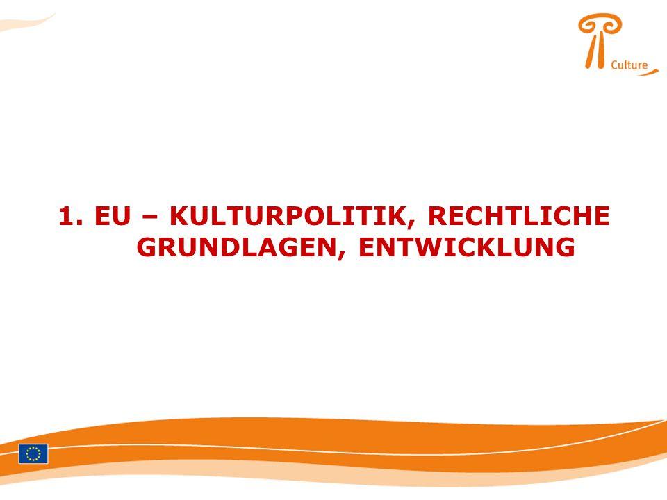 1. EU – KULTURPOLITIK, RECHTLICHE GRUNDLAGEN, ENTWICKLUNG