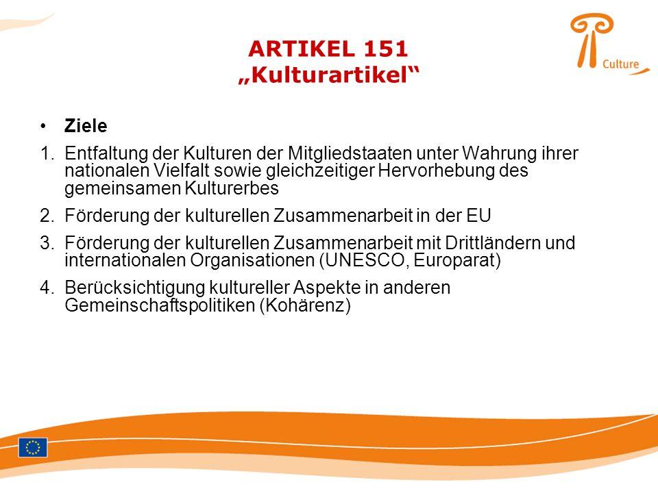 """ARTIKEL 151 """"Kulturartikel"""