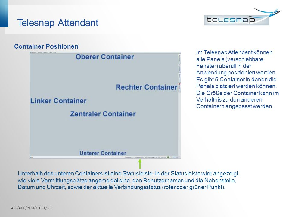 Telesnap Attendant Container Positionen