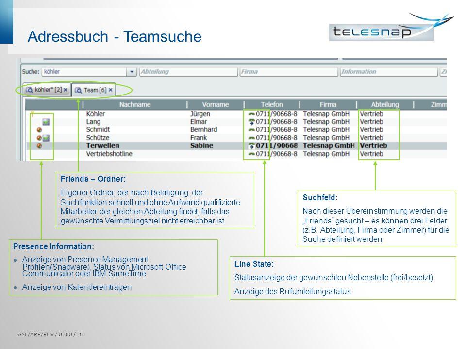 Adressbuch - Teamsuche