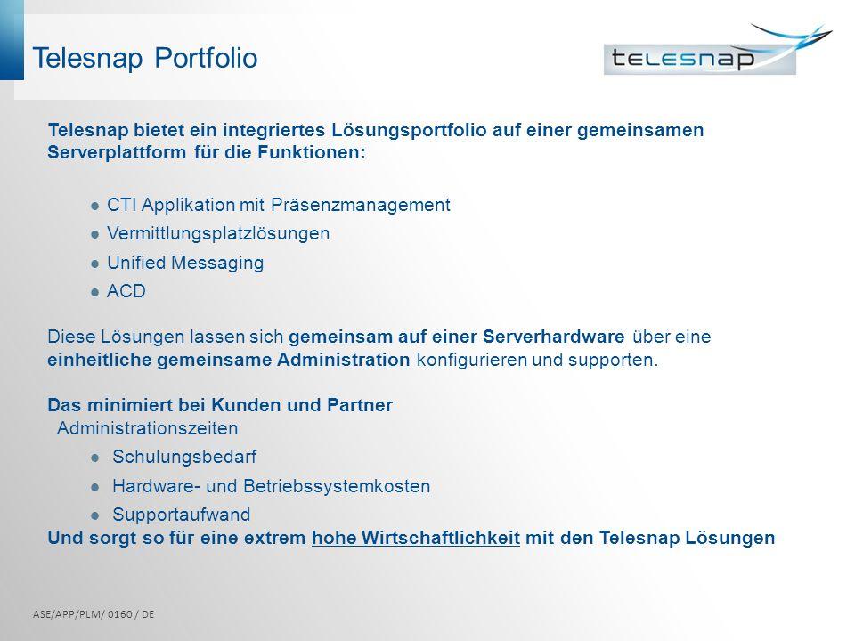 Telesnap Portfolio Telesnap bietet ein integriertes Lösungsportfolio auf einer gemeinsamen Serverplattform für die Funktionen: