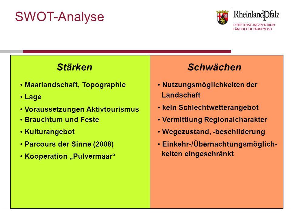SWOT-Analyse Stärken Schwächen Maarlandschaft, Topographie Lage