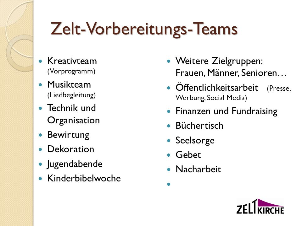 Zelt-Vorbereitungs-Teams