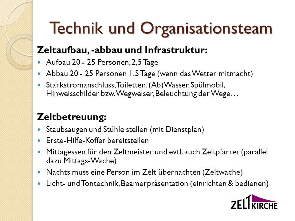 Technik und Organisationsteam