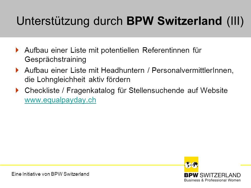 Unterstützung durch BPW Switzerland (III)