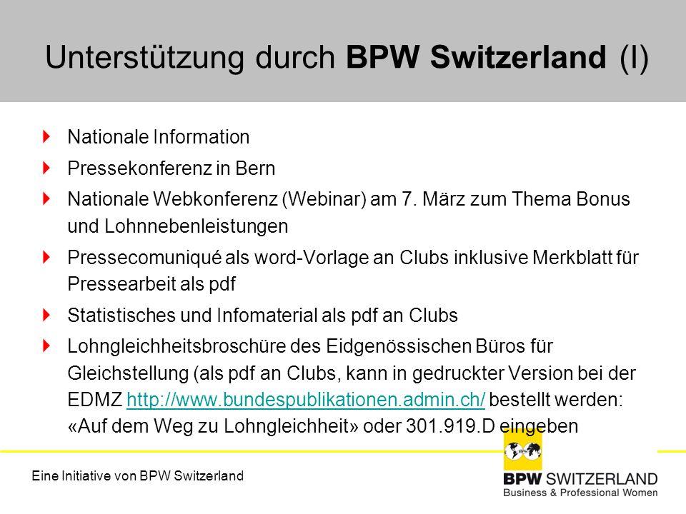 Unterstützung durch BPW Switzerland (I)