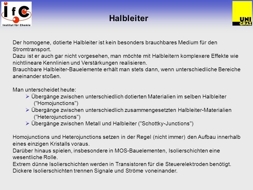 Halbleiter Der homogene, dotierte Halbleiter ist kein besonders brauchbares Medium für den Stromtransport.