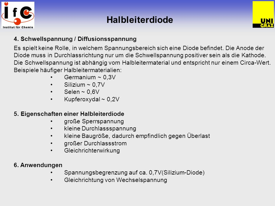 Halbleiterdiode 4. Schwellspannung / Diffusionsspannung