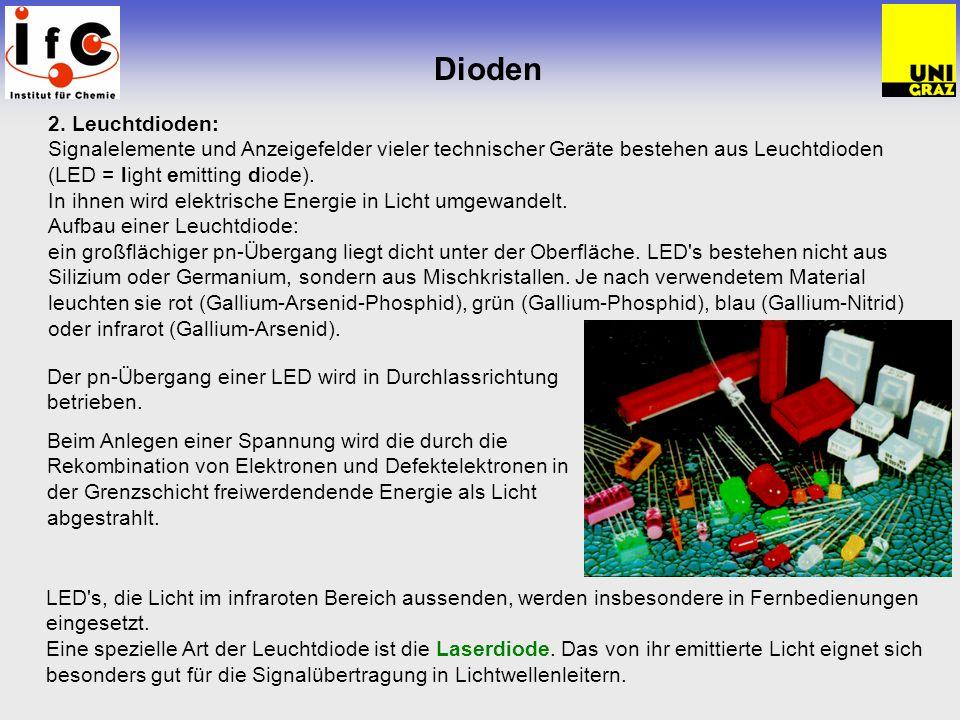 Dioden 2. Leuchtdioden: Signalelemente und Anzeigefelder vieler technischer Geräte bestehen aus Leuchtdioden (LED = light emitting diode).