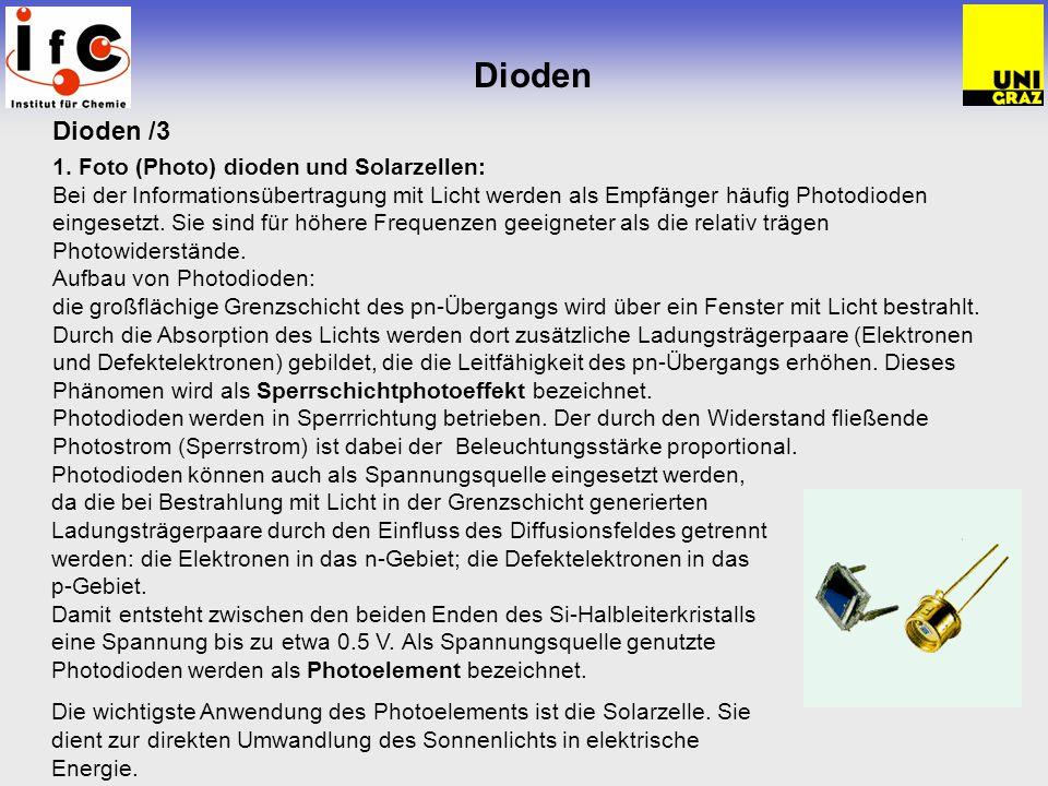 Dioden Dioden /3 1. Foto (Photo) dioden und Solarzellen: