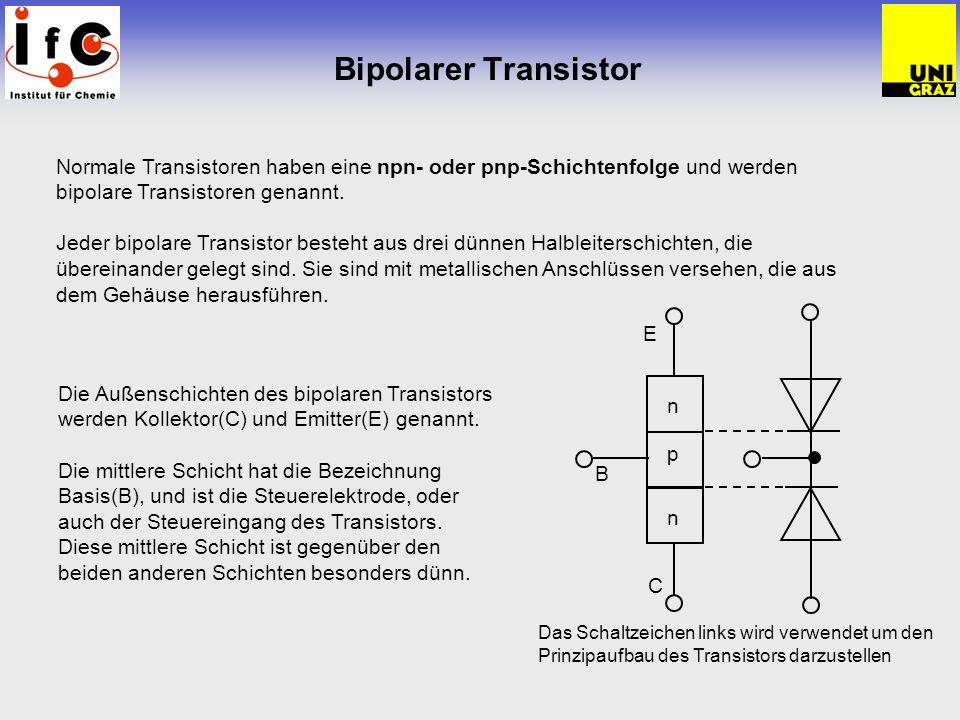 Bipolarer Transistor Normale Transistoren haben eine npn- oder pnp-Schichtenfolge und werden bipolare Transistoren genannt.