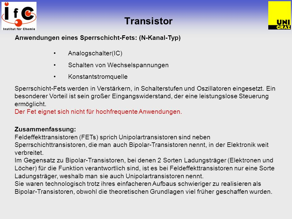 Transistor Analogschalter(IC) Schalten von Wechselspannungen