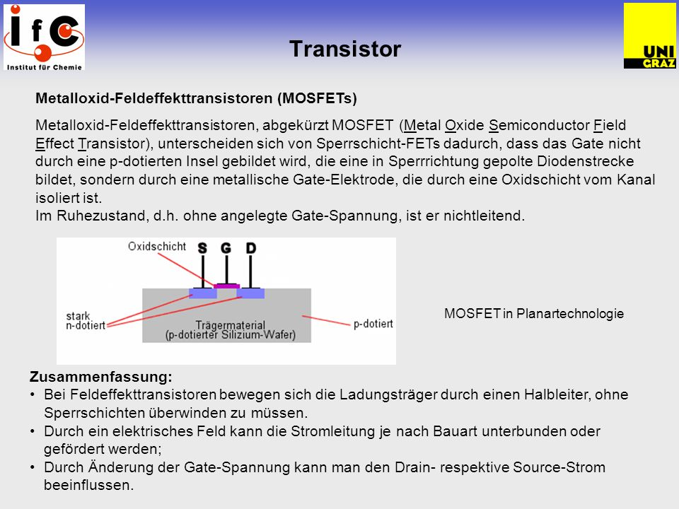 Transistor Metalloxid-Feldeffekttransistoren (MOSFETs)