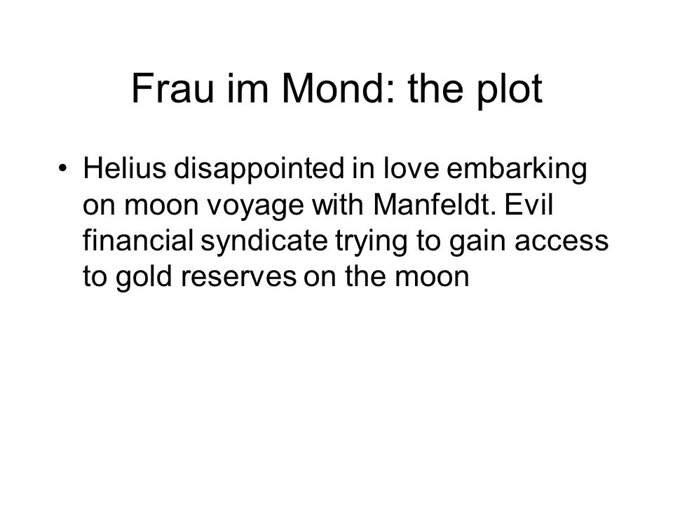 Frau im Mond: the plot