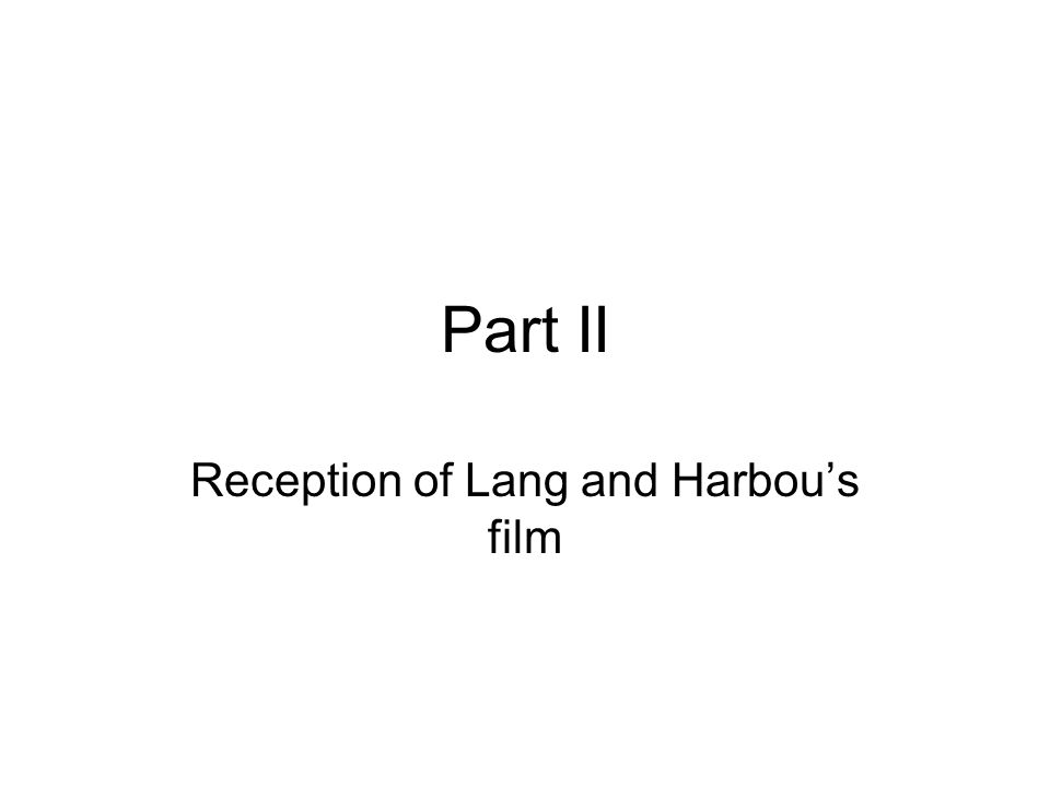 Reception of Lang and Harbou's film