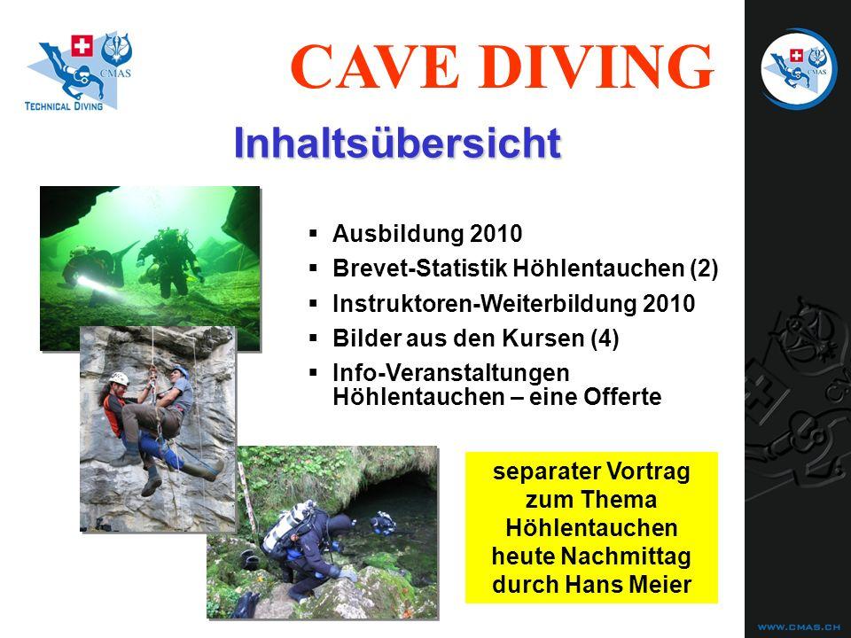 Inhaltsübersicht Ausbildung 2010 Brevet-Statistik Höhlentauchen (2)