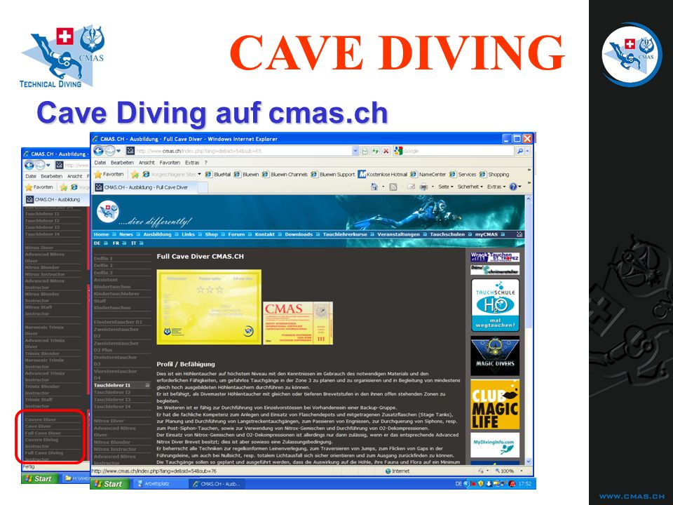 Cave Diving auf cmas.ch