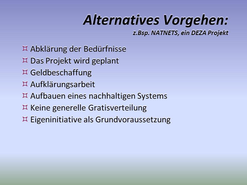 Alternatives Vorgehen: z.Bsp. NATNETS, ein DEZA Projekt
