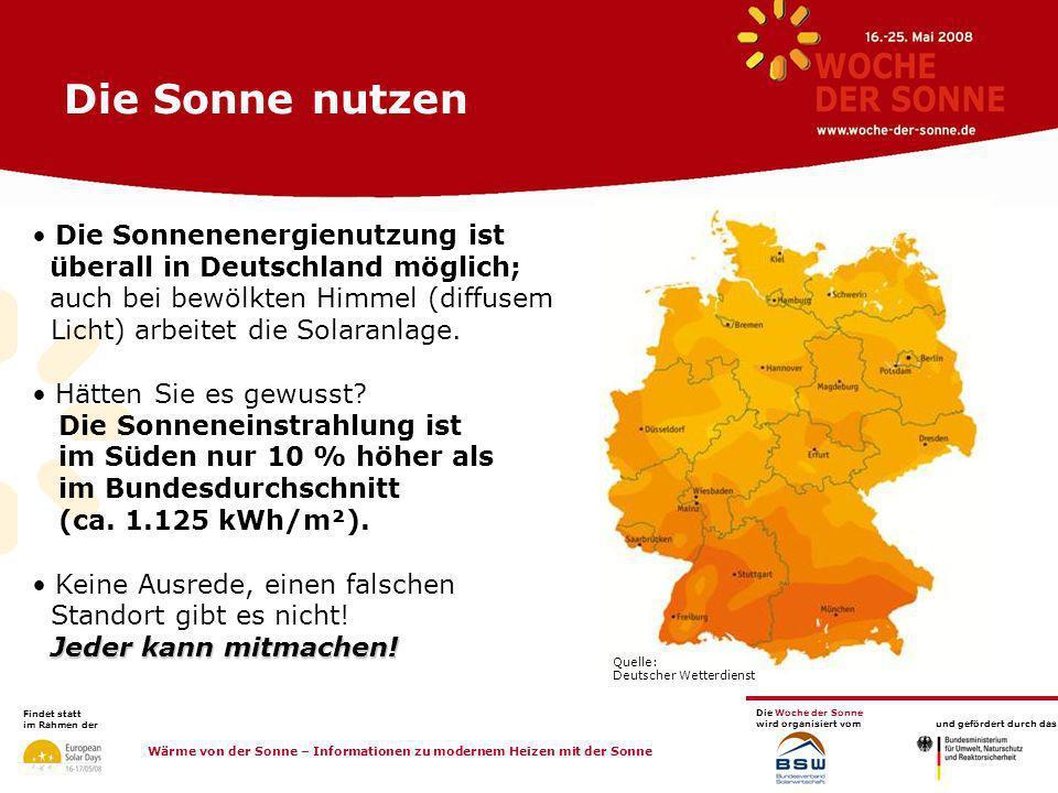 Die Sonne nutzen Quelle: Deutscher Wetterdienst.