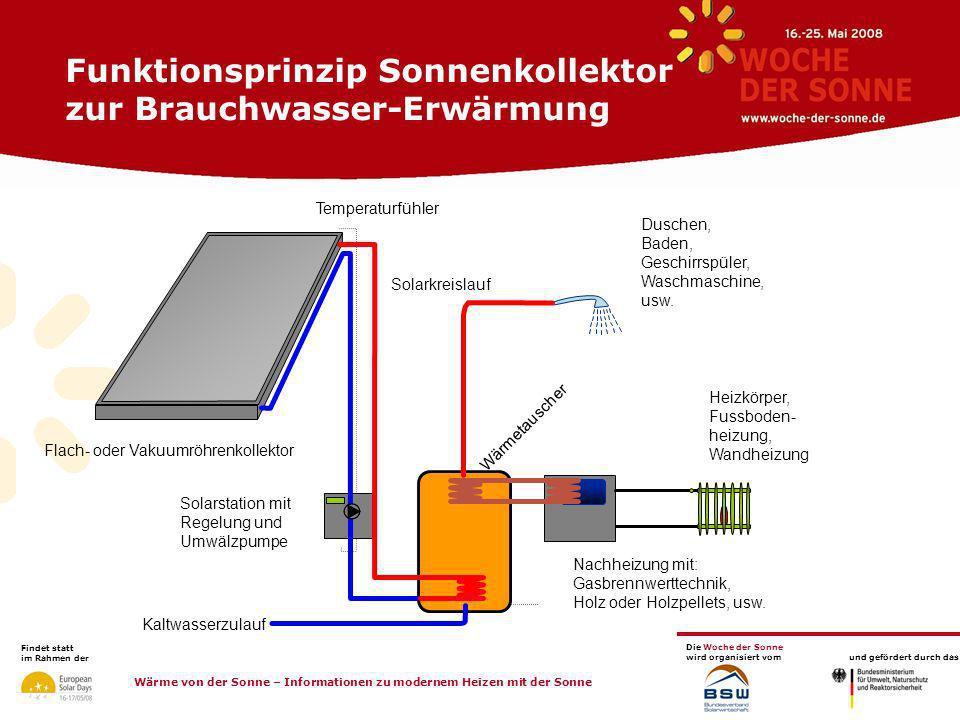 Funktionsprinzip Sonnenkollektor zur Brauchwasser-Erwärmung