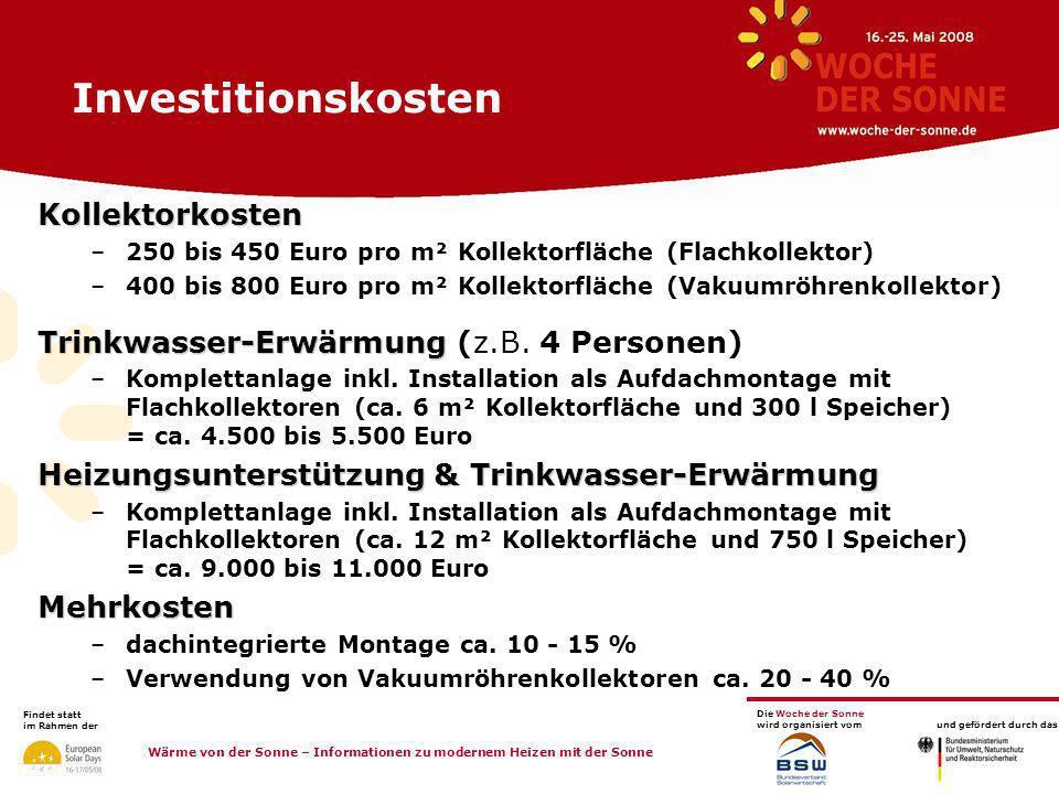 Investitionskosten Kollektorkosten