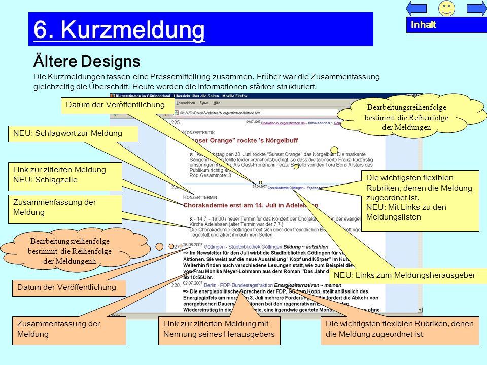 6. Kurzmeldung Ältere Designs Inhalt